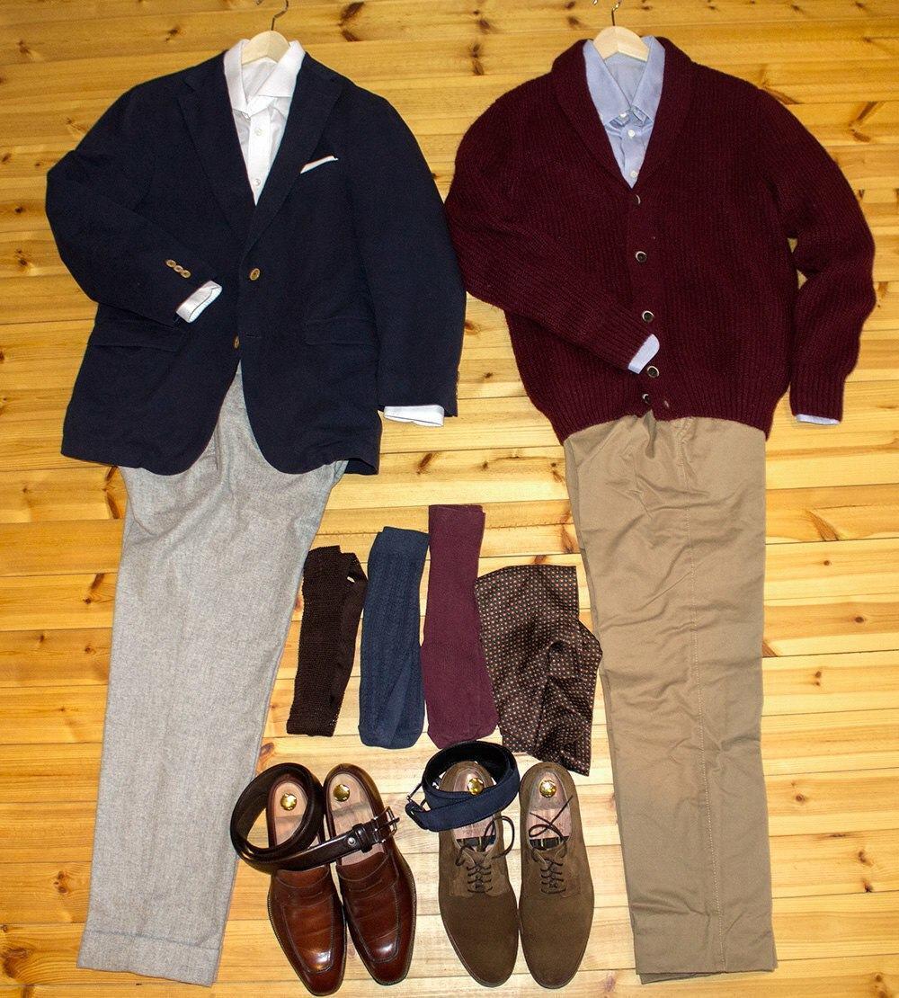 Kuvassa on kaksi business casual -määritelmän mukaista asua. Valittujen vaatteiden idea on siinä, että voit vaihtaa minkä tahansa vaatekappaleen asukokonaisuuksien väliltä ja kokonaisuus näyttää edelleen hyvältä.
