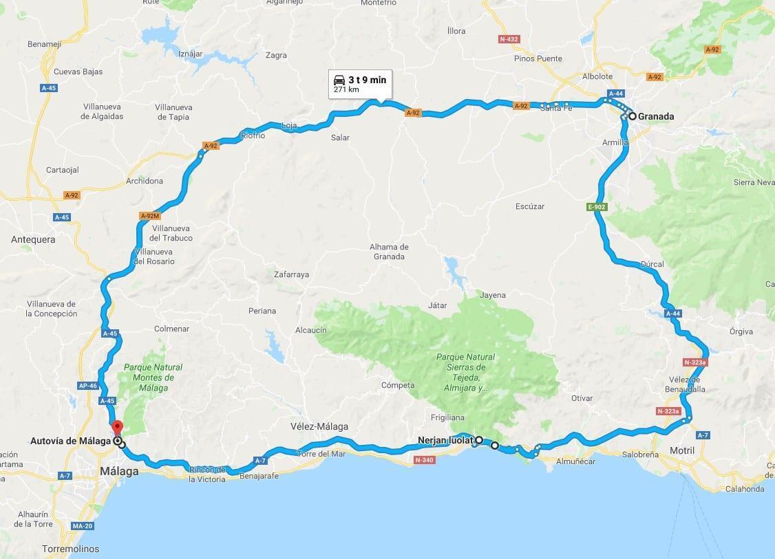 Costa del Sol - Granada - kartta