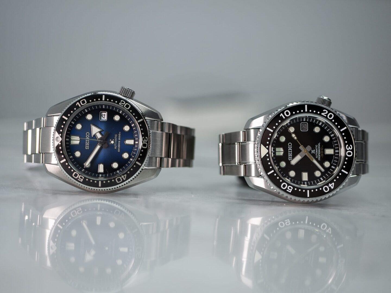 Kova kaksikko: Seiko Prospex Great Blue Hole Special Edition 1968 (vasemmalla) ja Seiko Prospex SLA021 aka Marinemaster.