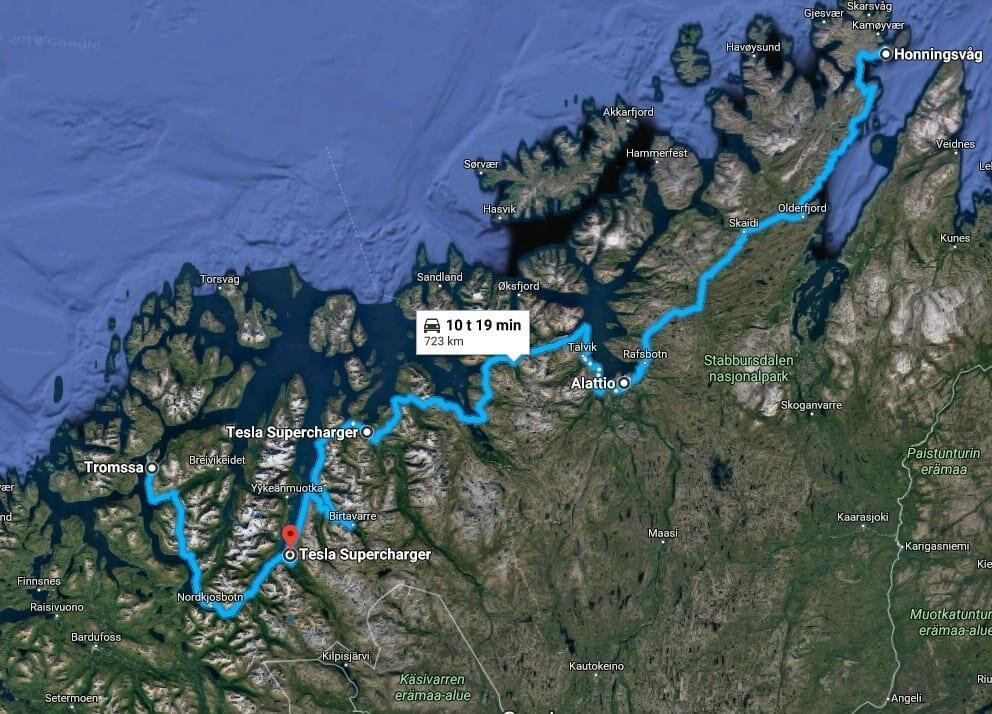 Jokamies - Teslalla talvella Nordkappiin - Paluureitti 1