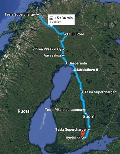 Jokamies - Teslalla talvella Nordkappiin - paluureitti 2