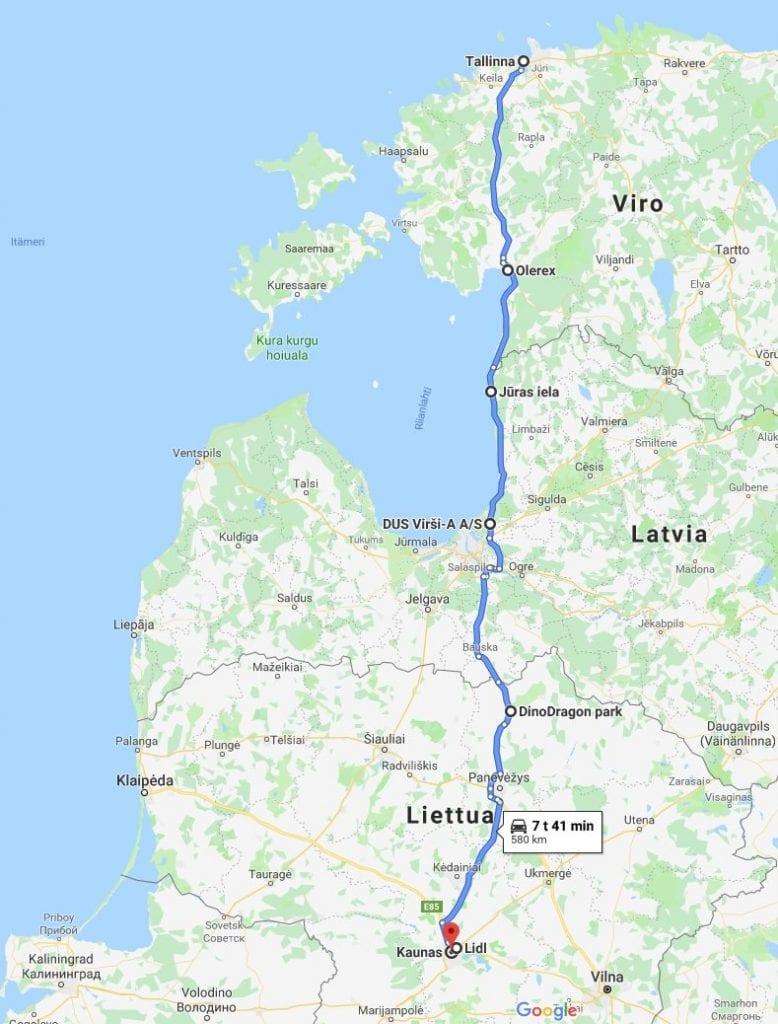 Jokamies - Itäblokki Teslalla - reitti