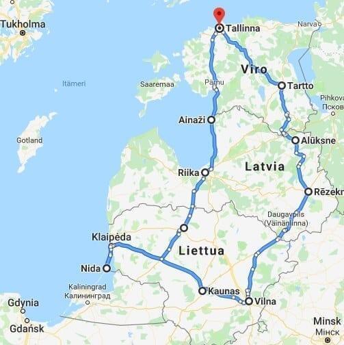 Jokamies - Sähköautomatkalla Baltiassa - ajoreitti